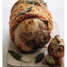 Roast leg of pork with sage and stuffed onions